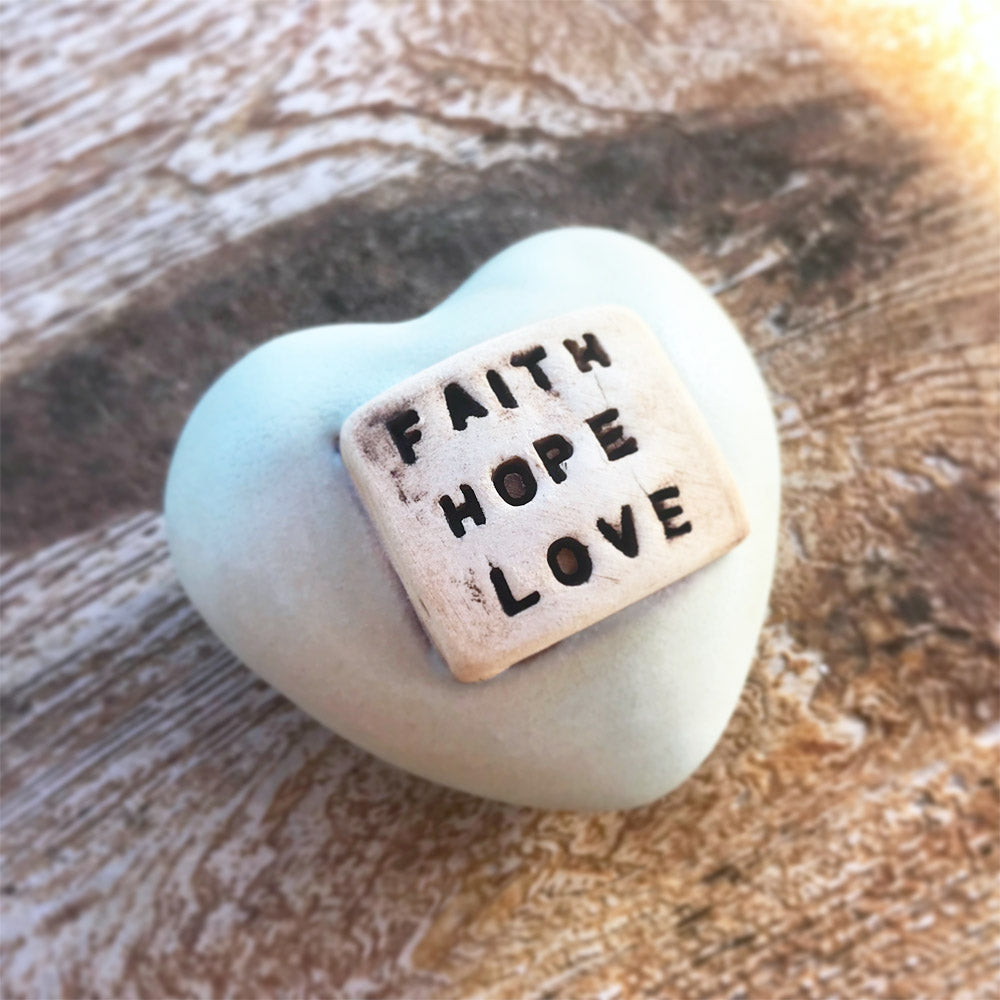 Heart Rattle – Faith Hope Love – Antique Olive