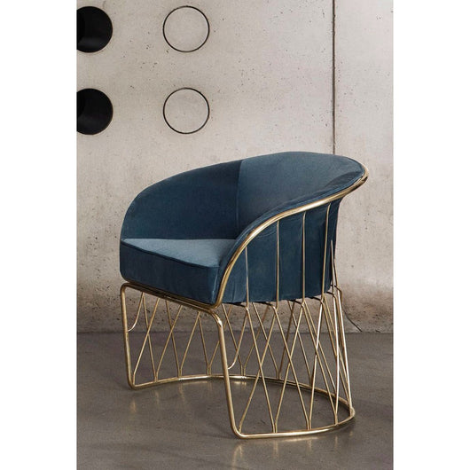 Luteca Equipal Chair Grey Leather with Brass Frame (2 in Stock)