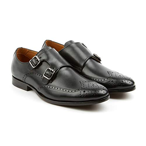 Pair of Kings Men's The Straight Black Leather Double Monk Strap Handmade Shoe