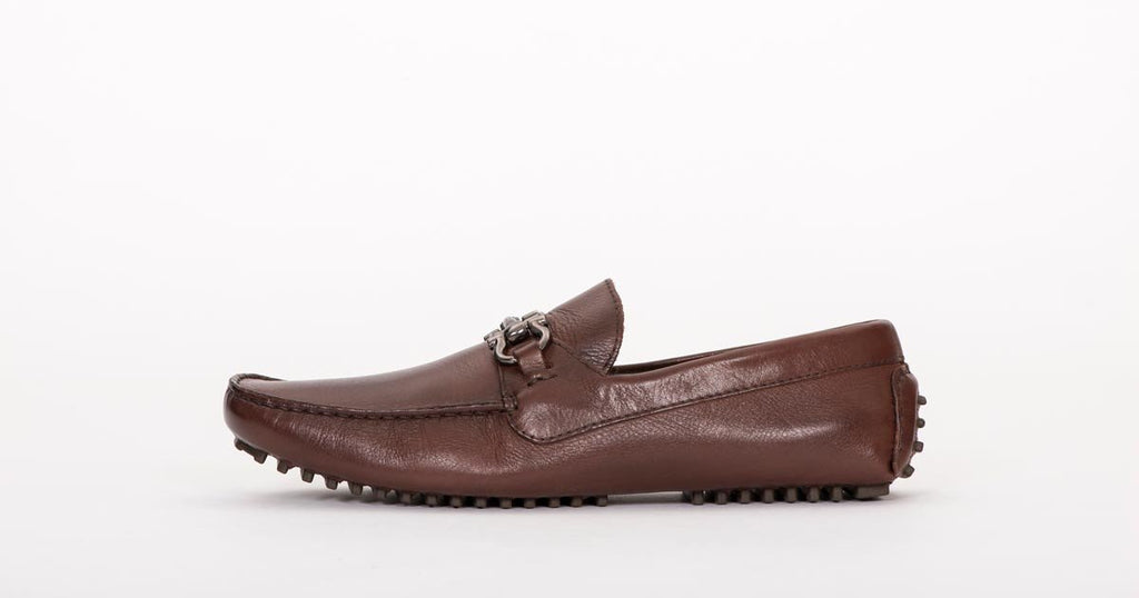 Pair Of Kings Mens TOP KICKER Brown Leather Classic Comfortable Slip In Dress Moccasin Shoe