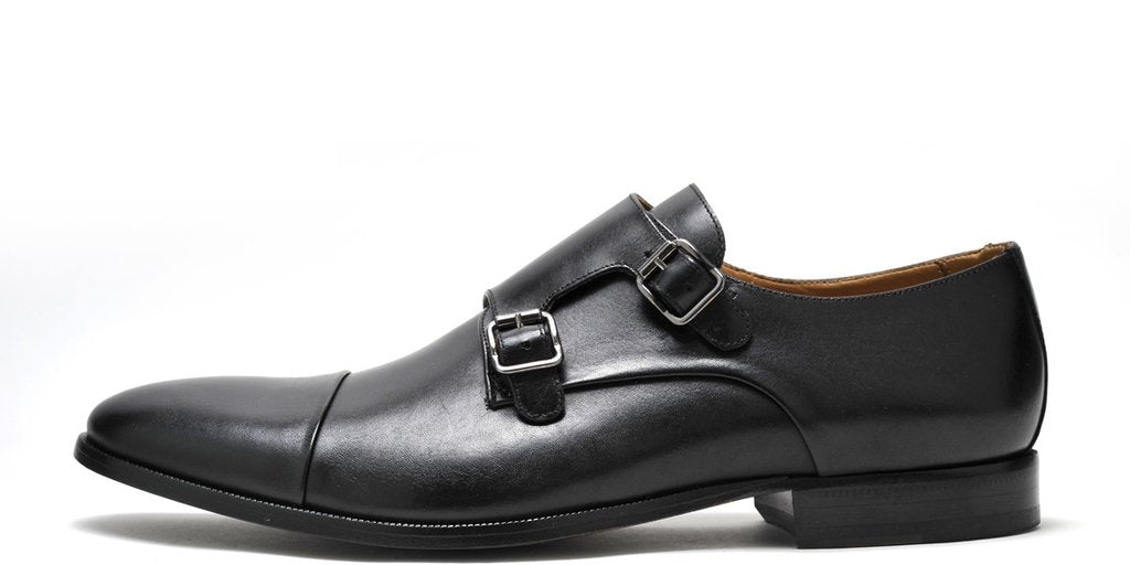 MEN'S JACK BLACK DRESS SHOES - MEN'S MONK STRAP BLACK JACK FORMAL DRESS SHOES