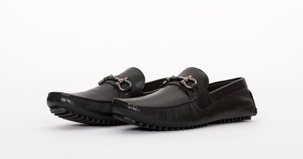 Pair of Kings Mens Black Leather Comfortable Slip On Everyday Dress Moccasins