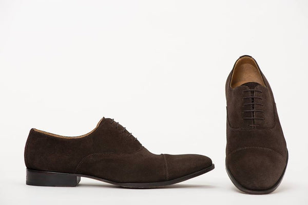 Pair Of Kings Mens Pure Nuts Cap Toe Brown Suede Lace Up Chocolate Oxford Dress Shoe