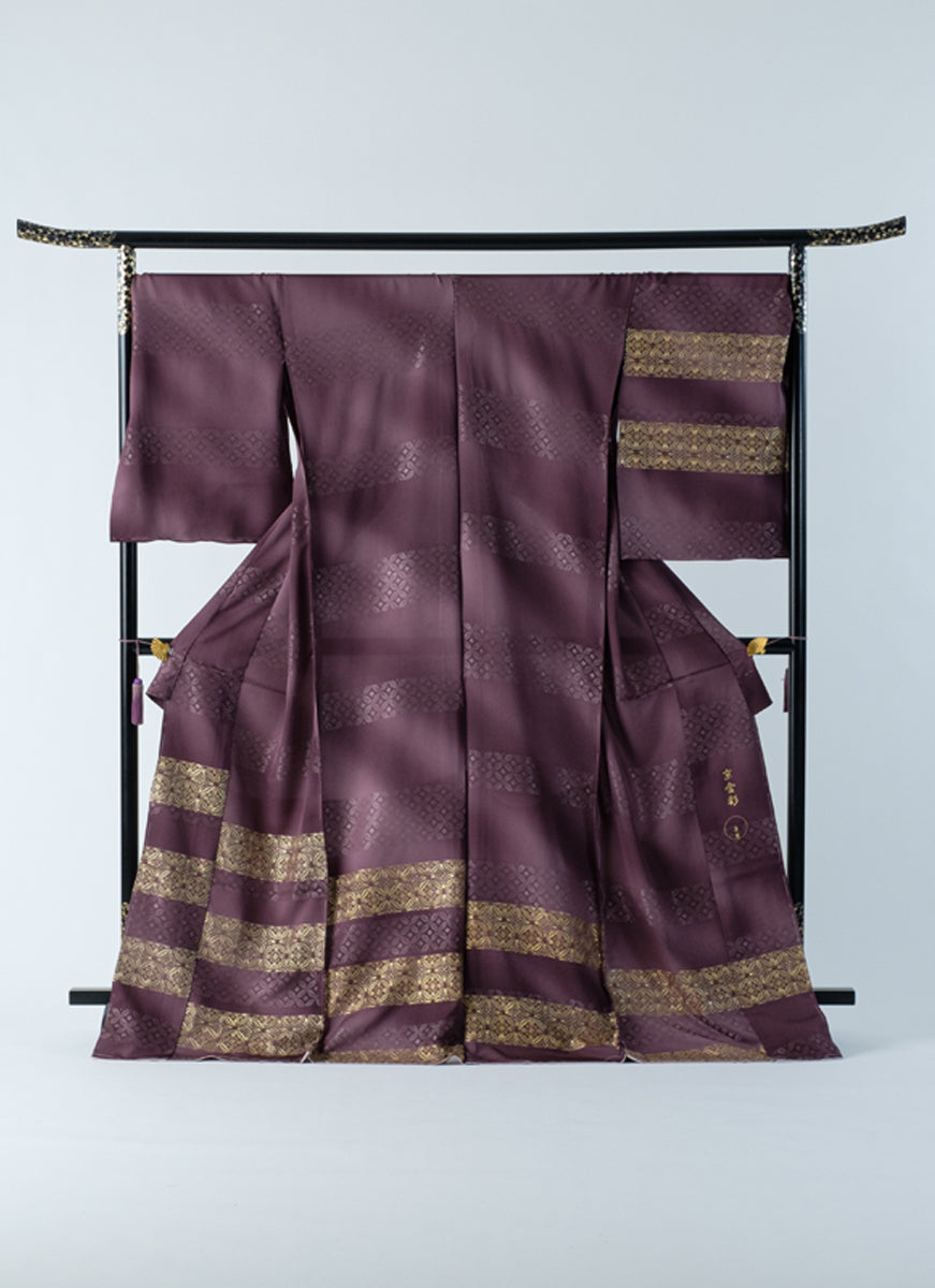 Houmongi Purple Gold-leaf Shippo Auspicious Formal Party Made-to-order