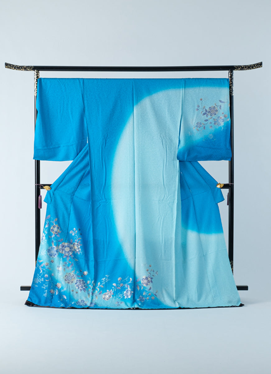 Houmongi Blue Aqua Gold-leaf Gradation Yuzen Formal Ceremonies Party Made-to-order