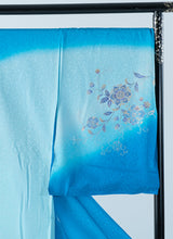 Load image into Gallery viewer, Houmongi Blue Aqua Gold-leaf Gradation Yuzen Formal Ceremonies Party Made-to-order