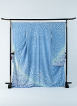 Load image into Gallery viewer, Furisode Blue Aqua Simple Sakura Petals Ready-made 01020005