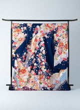 Load image into Gallery viewer, Furisode Blue Aqua Modern Vivid Florals Motifs Ready-made 01010003