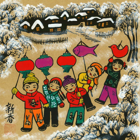 Huxian Folk Painting - Spring Festival