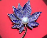Stunning Maple Leaf Peal Brooch