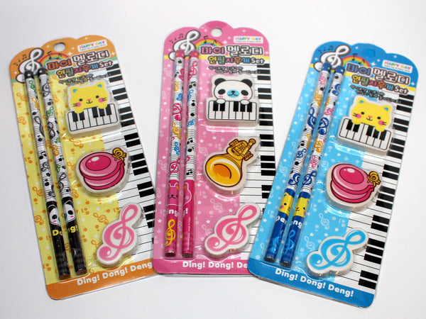 Cartoon Pencil and Eraser Set