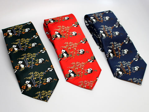 Chinese Silk Tie with Panda and Bamboo Print