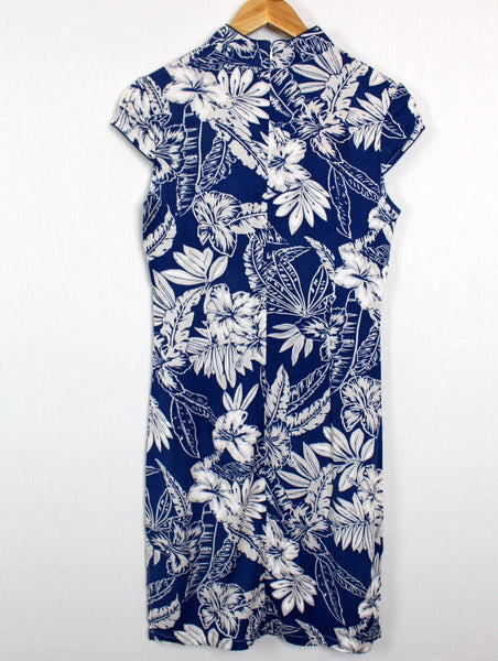 Qipao Dress with Blue and White Floral Print