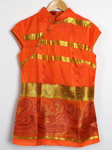 Chinese Traditional Blouse in Stunning Orange and Gold