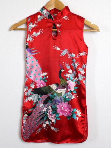Qipao (Dress) For Girls with Red Silk Print