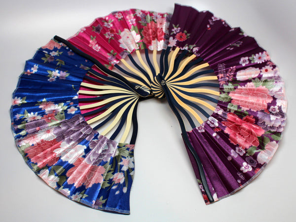 Chinese Floral Silk Fan (Multiple Colors)