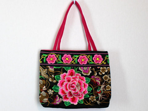 Chinese Embroidered Pink Floral Purse