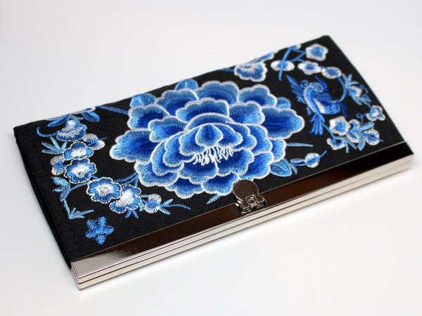 Embroidered Wallet in Blue and White Floral Print
