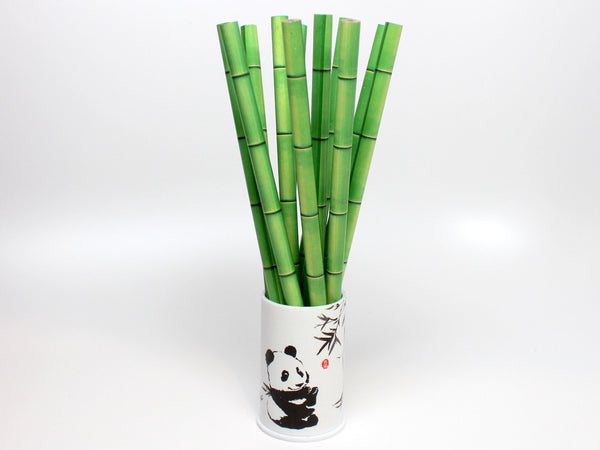 12 Bamboo Style Pencils with Panda Pencil Holder