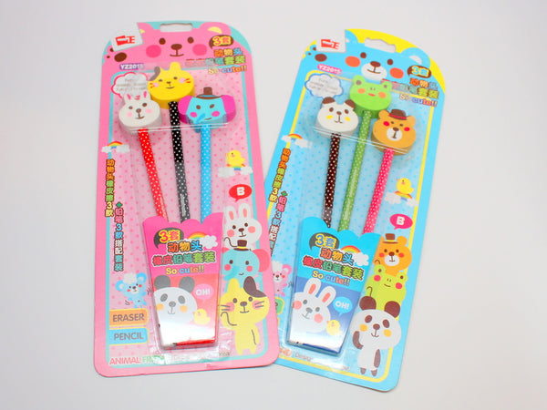 Cute Animal Head Pencil Set