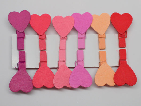 Colorful Heart Clip (Artsy Clothespin) Set