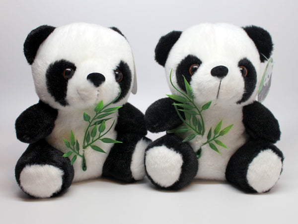 Panda Stuffed Animal with Bamboo