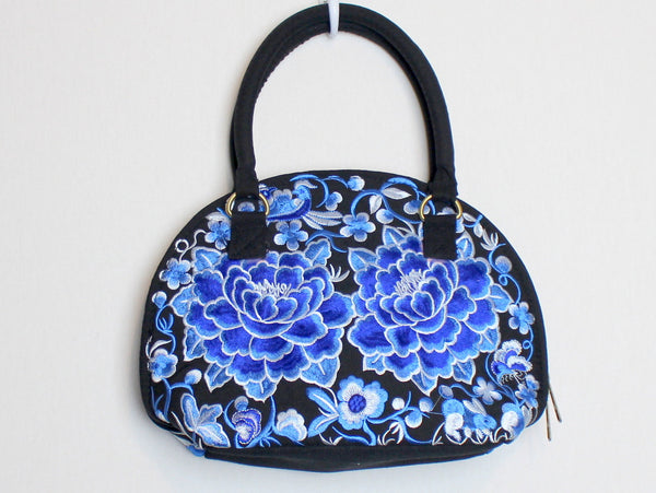 Embroidered Purse with Blue and White Floral Print