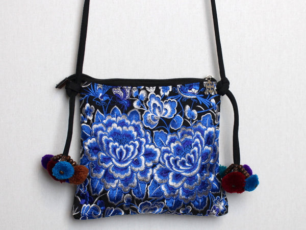 Embroidered Purse with Blue and white Floral Print (Cross-Body)