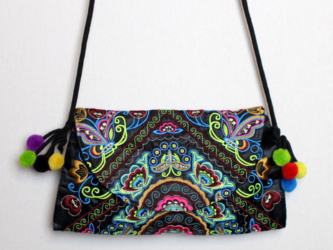 Embroidered Purse with Black and Green Floral Print (Cross-Body)