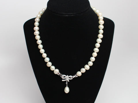 Beautiful Authentic Pearl Necklace with Butterfly Clasp