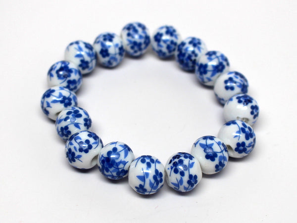 Beautiful Bracelet with Blue Floral Design