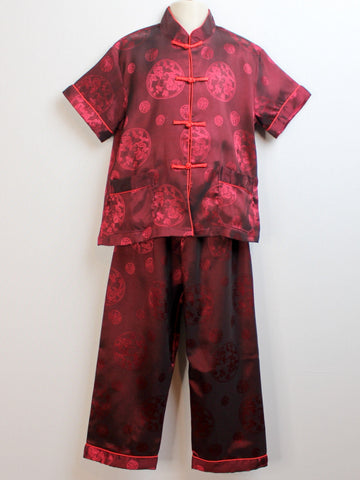 Boys Two-Piece Handsome Satin Traditional Outfit (Wine Color)