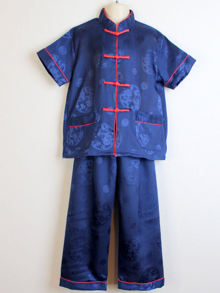 Boys Two-Piece Satin Traditional Outfit (Navy Blue)
