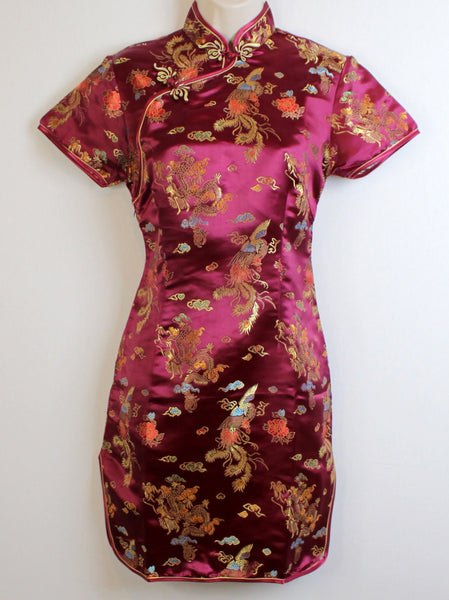 Ladies' Traditional Qipao Dress (Cheongsam) in Deep Crimson/Maroon Brocade