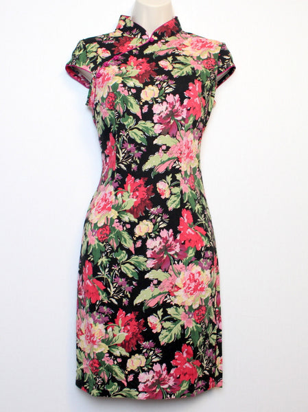 Qipao Dress with Multi-Color Floral Print