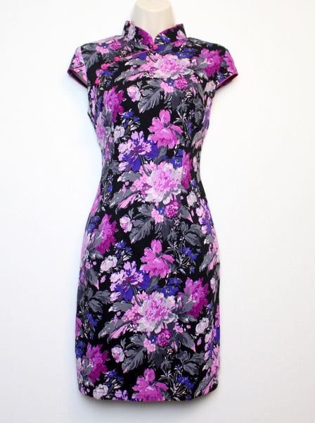 Qipao Dress with Black and Purple Floral Print
