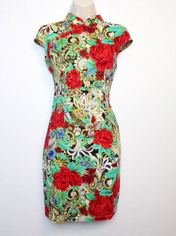 Qipao Dress with Green and Red Floral Print