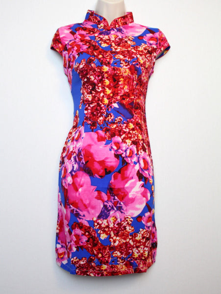 Chinese Qipao (Dress) with Blue and Pink Floral Print
