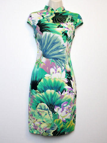 Qipao Dress With Green Floral Print