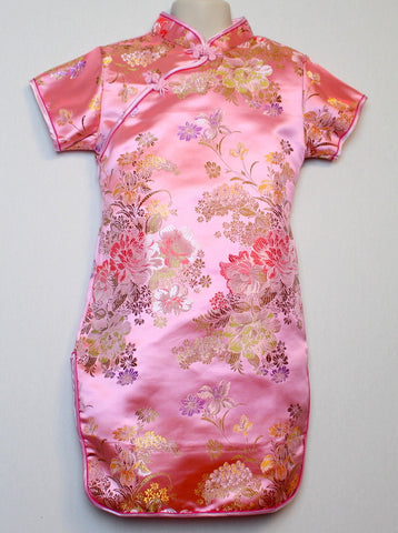 Beautiful Traditional Qipao Dress for Girls and Juniors (Pink)