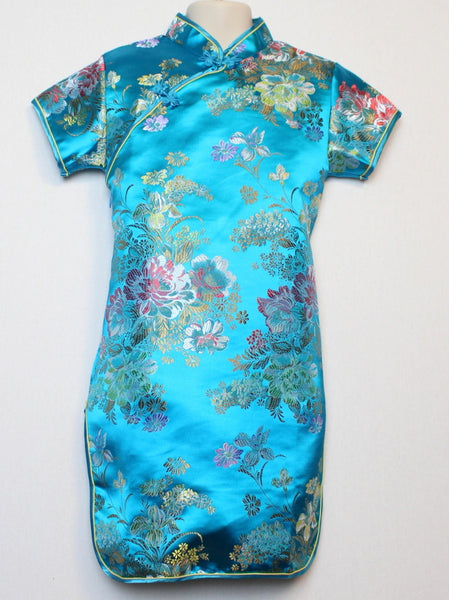 Beautiful Traditional Qipao Dress for girls and juniors (Blue)