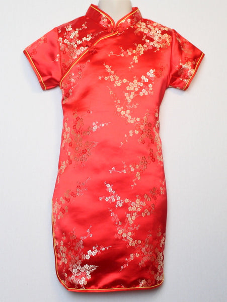 Beautiful Traditional Qipao Dress for Girls and Juniors (Red)