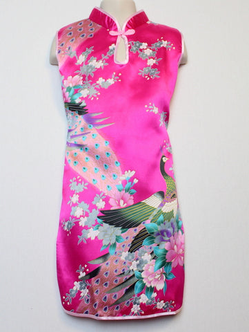 Qipao (Dress) For Girls with Hot Pink Silk Print