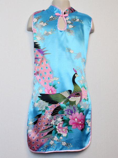 Qipao (Dress) For Girls with Blue Silk Print