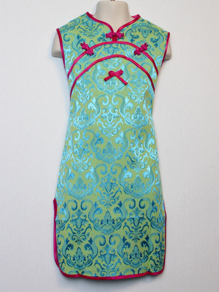 Qipao (Dress) with Beautiful Blue and Green Print for Girls and Juniors