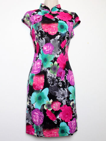 Chinese Qipao (Dress) with Beautiful Floral Print