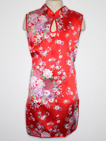 Qipao (Dress) For Girls with Beautiful Flower Silk Print