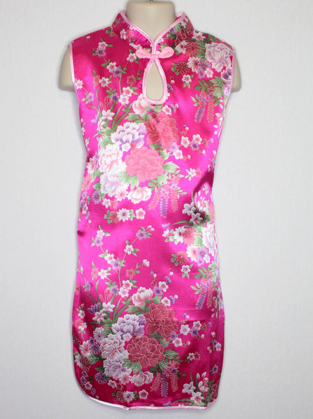 Qipao (Dress) For Girls with Hot Pink Flower Silk Print