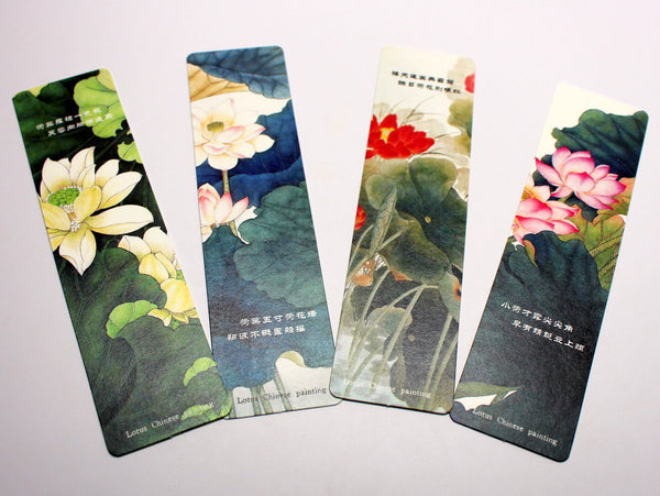 Chinese Lotus Flower Painting Bookmark Set