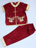 Boys Two-Piece Traditional Embroidered Dragon Outfit